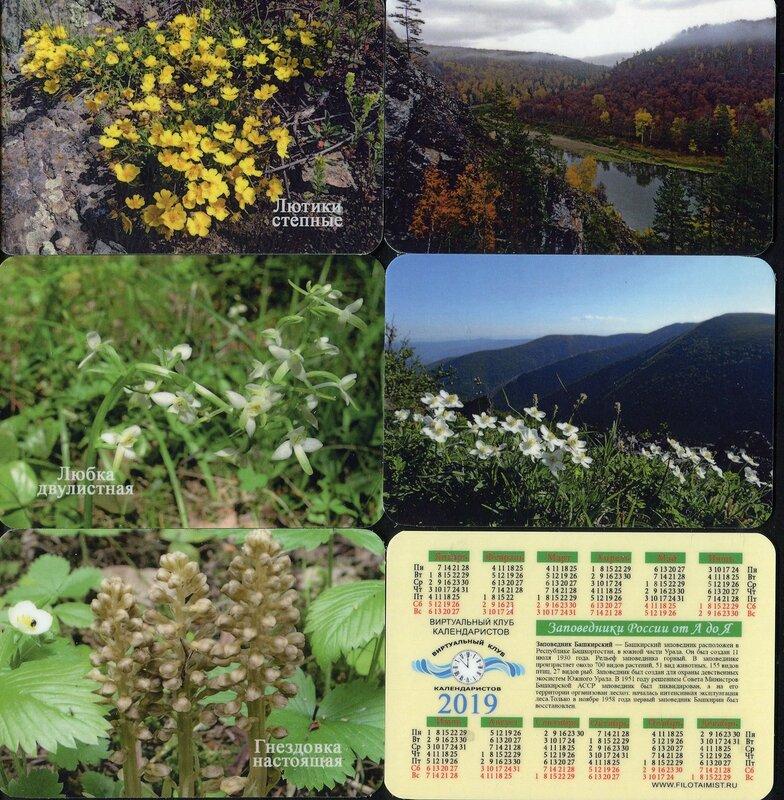 Серия календарей «Башкирский заповедник флора» 14 штук 2019 год
