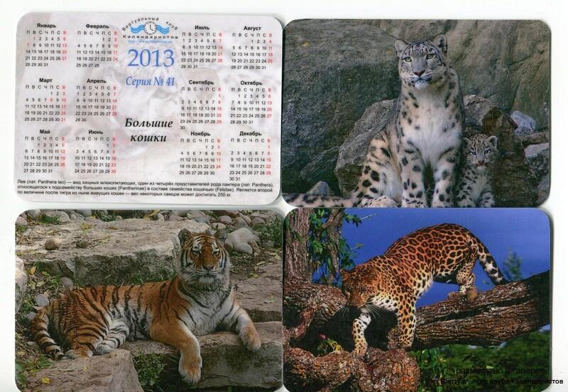 Серия календарей «Большие кошки» 12 штук 2013 год