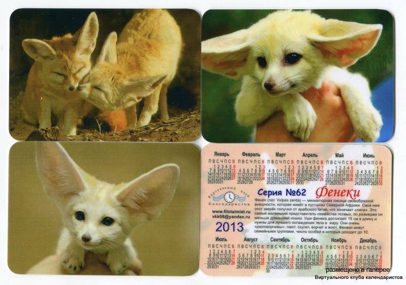 Серия календарей «Фенеки» 12 штук 2013 год